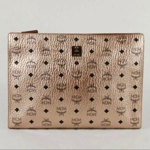 MCM Large Champagne Gold Clutch Pouch